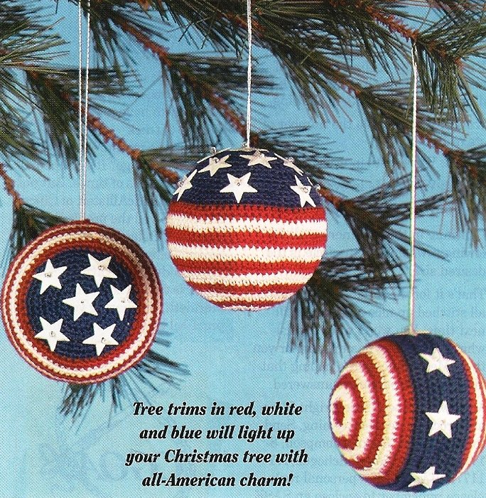X446 Crochet PATTERN ONLY 3 Patriotic Christmas Ornament Covers Patterns