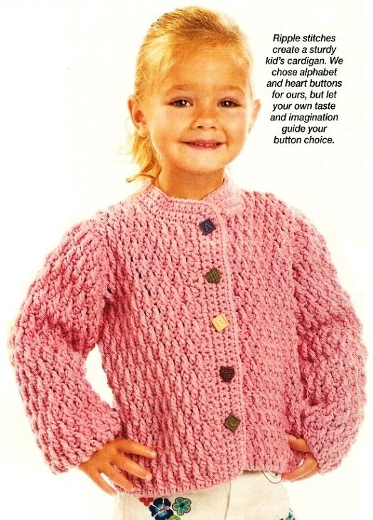 X471 Crochet PATTERN ONLY Childs Cozy Cardigan &  Hat and Scarf Pattern