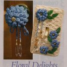 Y534 Crochet PATTERN ONLY Floral Mum Doorknob Cover & Light-Switch Plate Cover
