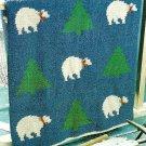 X592 Crochet PATTERN ONLY Festive Polar Bears Afghan Pattern