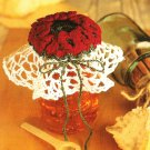 X572 Crochet PATTERN ONLY Winter Roses Jar Lid Cover & Angel Napkin Holder