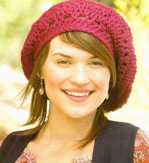 X086 Crochet PATTERN ONLY Raspberry Beret Hat Pattern