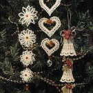 X598 Crochet PATTERN ONLY Dangling Christmas Ornaments Heart Bell Flower Pattern