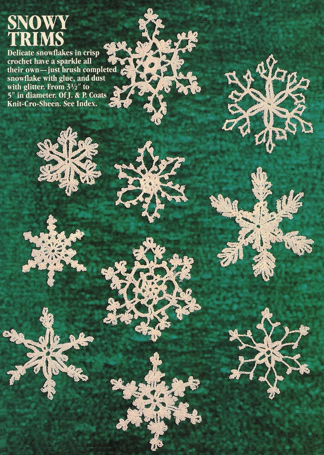 W444 Crochet PATTERN ONLY Snowy Snowflake Christmas Ornament Patterns