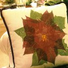 W467 Pretty Leaf Motif Pillow INSTRUCTIONS ONLY Real Poinsettia Impressions Used