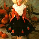 W520 Crochet PATTERN ONLY Fashion Doll Pumpkin Patch Party Dress Shawl Pattern