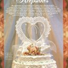 W479 Crochet PATTERN ONLY Heart Wedding Cake Topper Keepsake Pattern