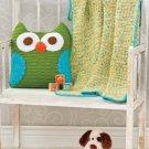 W496 Crochet PATTERN ONLY Nightie Night Owl Pillow & Blankie Blanket Pattern