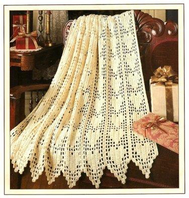 W506 Filet Crochet PATTERN ONLY Hearts Aplenty Afghan Throw Pattern