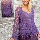 W552 Crochet PATTERN ONLY Purple Mist Kimono Long Sleeve Sweater Pattern