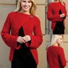 W553 Crochet PATTERN ONLY Ravishing in Red Wrap Cardigan Sweater Pattern to 5XL