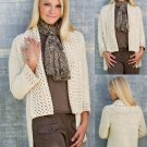 W554 Crochet PATTERN ONLY Lace-Collar Cardigan Sweater Pattern