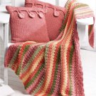 W561 Crochet PATTERN ONLY Colorful Stripe Throw & Cottage Button Pillows Pattern
