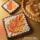 W588 Crochet PATTERN ONLY Fall Leaf Hot Pad and Coaster Wiggle Pattern