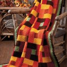 W606 Crochet PATTERN ONLY Bricks & Squares Quilt Look Throw Afghan Pattern