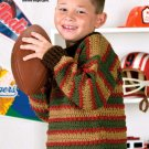 W610 Crochet PATTERN ONLY Child's Autumn Stripes Pullover Sweater Pattern