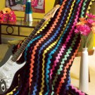 W624 Crochet PATTERN ONLY Psychedelic Stripes Afghan Throw Pattern