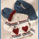 W627 Crochet PATTERN ONLY Snow Girl Sweater Hat Scarf w/ Heart Pockets Pattern