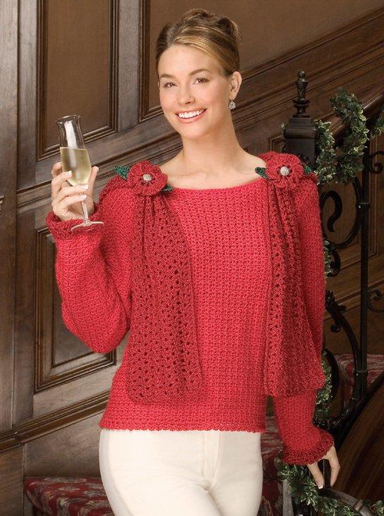 W630 Crochet PATTERN ONLY Night on the Town Fancy Sweater Scarf Pattern