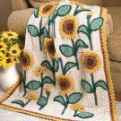 W636 Crochet PATTERN ONLY Sunflowers Lap Afghan Pattern