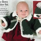 W650 Crochet PATTERN ONLY Holly bows Baby Sweater Hat Set of Patterns