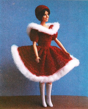 W653 Crochet PATTERN ONLY Fashion Doll Holiday Christmas Dress Hat Pattern