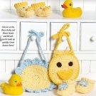 W655 Crochet PATTERN ONLY Duck & Flower Baby Bibs & Booties Patterns