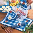 W666 Crochet PATTERN ONLY Gingham Check Place Mat Pot Holder Towel Topper Pattern