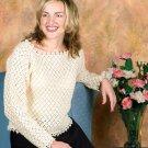 W674 Crochet PATTERN ONLY Cro-Tat Long Sleeve Ladies Sweater Top Pattern