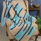 W678 Crochet PATTERN ONLY Color Block Textured Throw Afghan Pattern