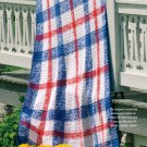 W684 Crochet PATTERN ONLY Liberty Tartan Afghan Throw Pattern Patriotic Colors