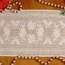 W698 Filet Crochet PATTERN ONLY Poinsettia & Holly Table Runner Scarf Pattern