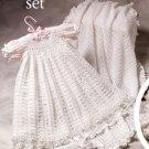 W715 Crochet PATTERN ONLY Christening Set Gown Blanket Booties Hat Socks Pattern