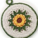 W716 Crochet PATTERN ONLY 2 Floral Pot Holder Potholder Patterns Sunflower & Blue