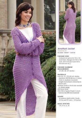 W735 Crochet PATTERN ONLY Evening Elegance Amethyst Jacket Pattern