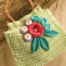 W746 Crochet PATTERN ONLY Spring Green Flower & Leaf Purse Pattern