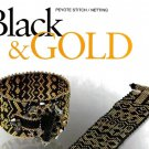 W798 Bead PATTERN ONLY Classy Dramatic Black & Gold Bracelet Cuff Pattern
