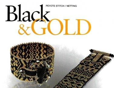 W798 Bead PATTERN ONLY Classy Dramatic Black & Gold Bracelet Cuff Pattern
