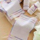 W804 Crochet PATTERN ONLY Baby Gift Set 2 Bottle Covers Bib Burp Pad Patterns