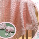 W833 Crochet PATTERN ONLY Crochenit Baby Set Blanket & Booties Pattern