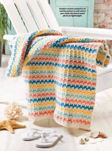 W854 Crochet PATTERN ONLY Summer Stripes Beach Towel Pattern