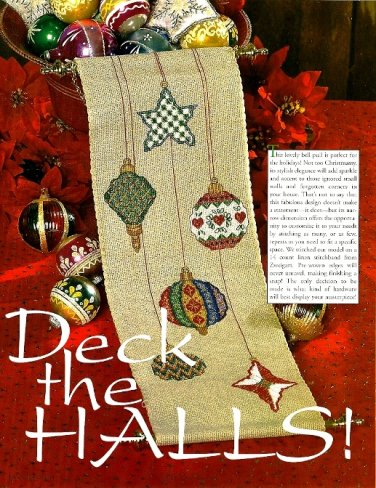 Z048 Cross Stitch PATTERN ONLY Deck the Halls Christmas Ornament Banner Pattern