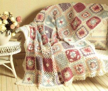 Z055 Crochet PATTERN ONLY Lacy Pastel Granny Afghan Pattern
