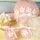 Z063 Crochet PATTERN ONLY Baby's Hat & Mittens Set Pattern