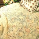 Z066 Filet Crochet PATTERN ONLY Home is Where the Heart Is Afghan Pattern