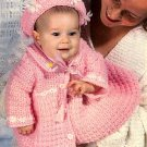 Z068 Crochet PATTERN ONLY Baby's Daisy Trimmed Hat & Jacket Ensemble Pattern