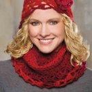 Z278 Crochet PATTERN ONLY La Rouge Infinity Scarf & Beanie Hat Pattern