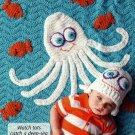 Z321 Crochet PATTERN ONLY Cute Octopus Baby Blanket & Hat Pattern Set