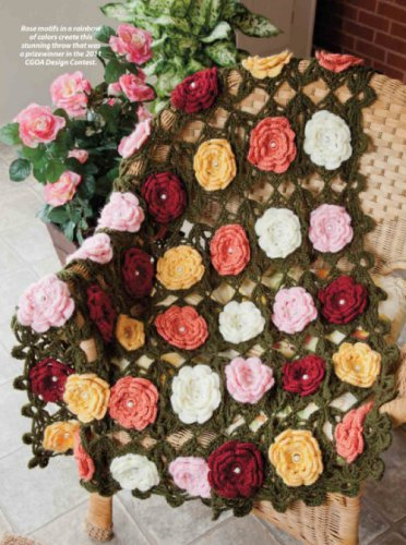 Z330 Crochet PATTERN ONLY Wild Roses Afghan Throw Pattern