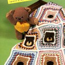 Z346 Crochet PATTERN ONLY Scrappy Teddy Bear Baby Blanket Afghan Throw